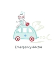 Emergency doctor travels by car vector image vector image