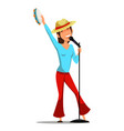 female singer flat character vector image vector image