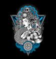 geisha king nagas thailand lotus tattoo skull vector image vector image