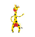 giraffe cartoon character stands smiling and vector image