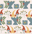 gnome reindeer bird and flowers vector image vector image
