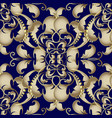 gold baroque seamless pattern dark blue vector image vector image