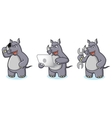 Gray Rhino Mascot with laptop vector image