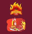 grill barbecue party and dishes vector image vector image