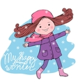 Happy girl with My happy winter inscription vector image vector image