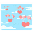 heart is floating on the sky with balloons the vector image