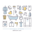 line set icons - bathroom vector image vector image