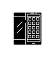 mobile applications black icon sign on vector image