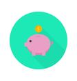 Money Pig with Dollar Coin Flat Icon with long vector image