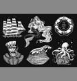 nautical adventure set sea mermaid and marine vector image vector image