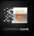 number six logo symbol in golden-silver square vector image vector image