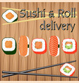 poster design for japanese food delivery in flat vector image