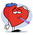 Red heart with a thermometer in his mouth vector | Price: 1 Credit (USD $1)