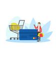 seasonal sale shopping man with huge credit card vector image