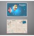 set two sides a postcard to ramadan kareem vector image vector image