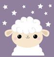 sheep lamb face head icon cloud shape cute vector image vector image