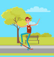 skateboarder sleeveless shirt jeans making tricks vector image
