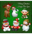 Snowmans and team on a green background vector image