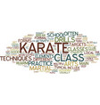 the main elements of a typical karate class text vector image vector image