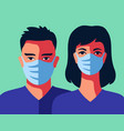 two doctors in medical masks man and woman vector image vector image