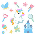 unicorn with magic design elements unicorn with vector image vector image