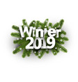 winter 2019 background with fir branches and vector image vector image