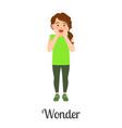 cartoon little girl wonder feeling vector image