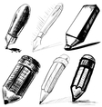 Collection of pens and pencils vector image