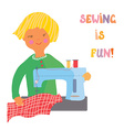 Sewing girl - cute vector image