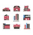 digital black red city buildings vector image