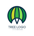 tree logo template green abstract organic design vector image