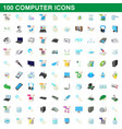 100 computer set cartoon style vector image vector image