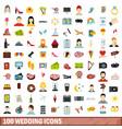 100 wedding icons set flat style vector image vector image