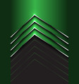 abstract green silver arrow direction on dark gray vector image vector image