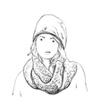 Beautiful Woman in Winter Scarf and Hat Fashion vector image vector image