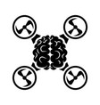 brain in middle of quadrocopter monochrome black vector image vector image