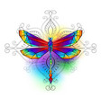 bright polygonal dragonfly vector image vector image
