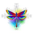 bright polygonal dragonfly vector image