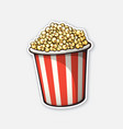 bucket full popcorn red and white striped vector image vector image