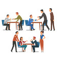 business negotiations set businesspeople sitting vector image