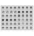 calendar icon set flat signs vector image vector image