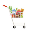 cart with products supermarket vector image vector image