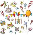 cartoon birthday set vector image
