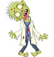 cartoon zombie doctor on white background vector image vector image