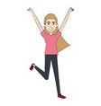 cheerful jumping woman avatar vector image vector image