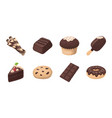 chocolate dessert icons in set collection for vector image vector image