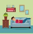 colorful scene man sleep in sofa on living vector image vector image