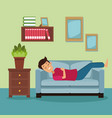 colorful scene man sleep in sofa on the living vector image vector image