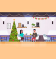 couple sitting at cafe table drinking coffee and vector image vector image