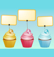 cupcakes with eggs and blank labels vector image vector image